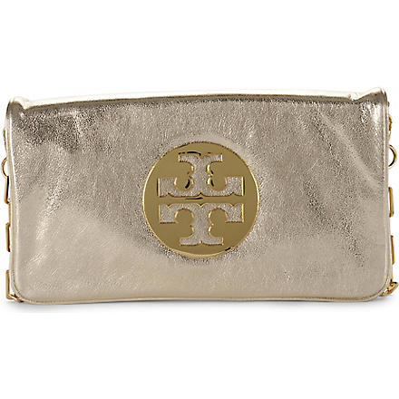 TORY BURCH Reva metallic clutch (Gold