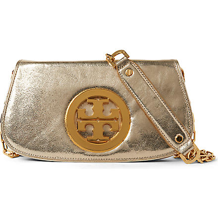 TORY BURCH Metallic logo clutch (Gold/gold