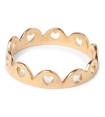 TATTY DEVINE Crown of Hearts 18ct gold-plated ring (Gold