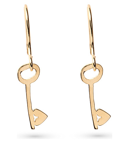 TATTY DEVINE Keep It Safe Key earrings (Gold