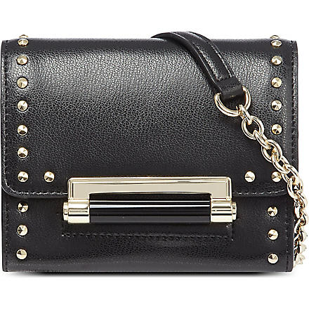 DIANE VON FURSTENBERG Micro mini studded leather cross-body bag (Black