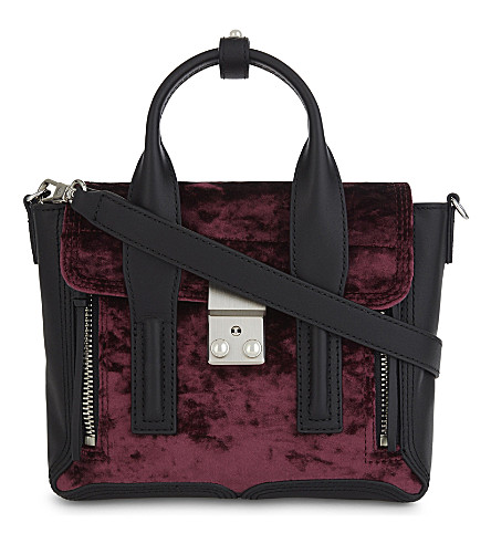 3.1 PHILLIP LIM Pashli mini leather velvet front flap satchel (Syrah