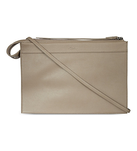3.1 PHILLIP LIM Large depeche clutch (Clay/gunmetal