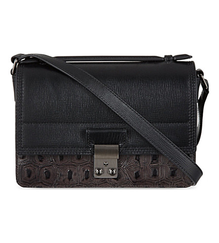 3.1 PHILLIP LIM Pashli Mini Embossed satchel (Soft black/gunmetal