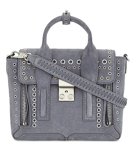 3.1 PHILLIP LIM Pashli mini suede eyelet shoulder bag (Ash+blue