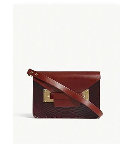SOPHIE HULME Mini Milner leather shoulder bag (Brown+bordeaux