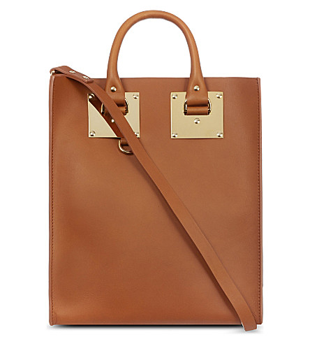 SOPHIE HULME Mini leather tote (Tan