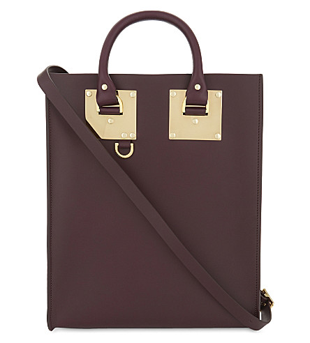 SOPHIE HULME Mini Albion leather tote (Aubergine