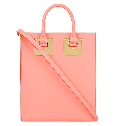 SOPHIE HULME Mini Albion leather tote (Bright+pink