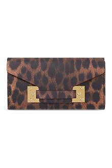 SOPHIE HULME Leopard envelope wallet