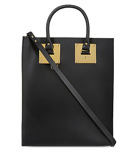 SOPHIE HULME Armour tote bag (Black+saddle+leather