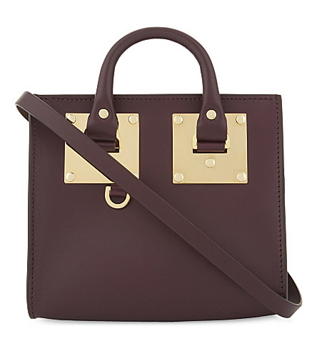 SOPHIE HULME Mini box leather Albion tote (Aubergine