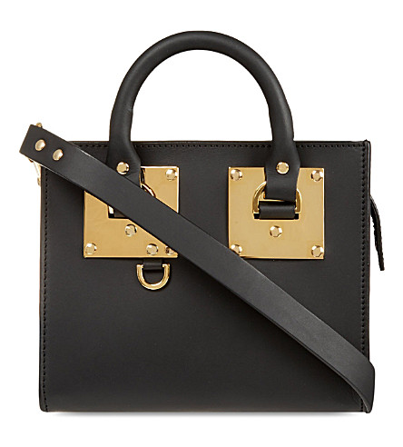 SOPHIE HULME Mini box leather Albion tote (Black