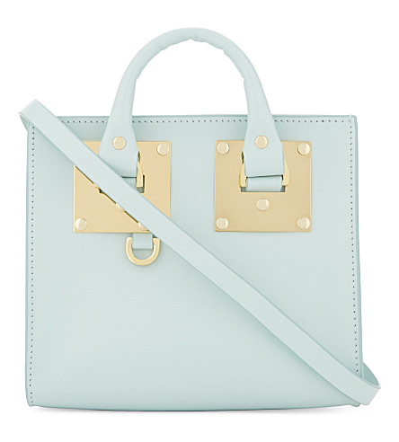 SOPHIE HULME Mini box leather Albion tote (Duck egg