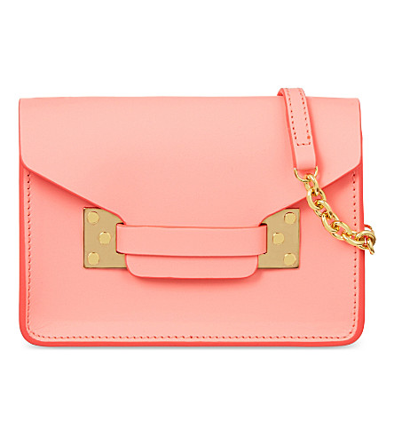 SOPHIE HULME Nano Milner mini envelope bag (Bright+pink