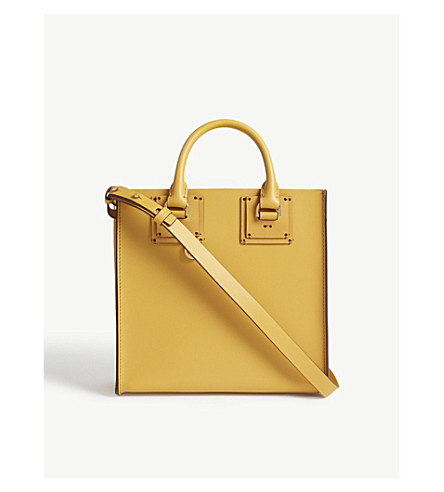 SOPHIE HULME Albion Box Tote leather bag (Dark+butter