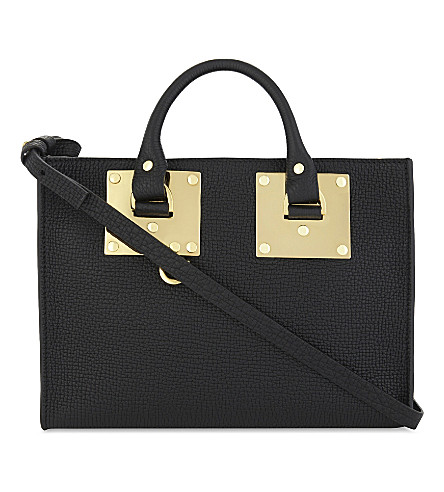 SOPHIE HULME Albion East/West mini leather tote bag (Black