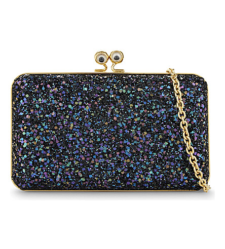 SOPHIE HULME Eyes glitter box clutch (Black