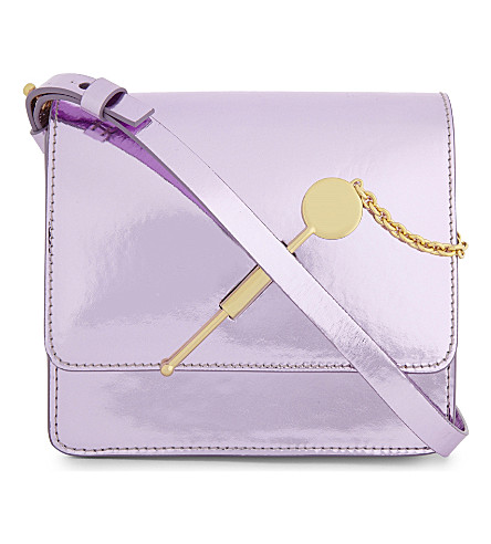 SOPHIE HULME Cocktail stirrer small mirrored leather cross-body bag (Metallic+pink
