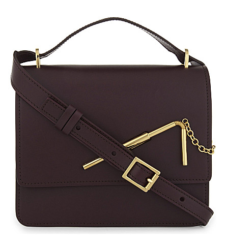 SOPHIE HULME Straw leather shoulder bag (Aubergine