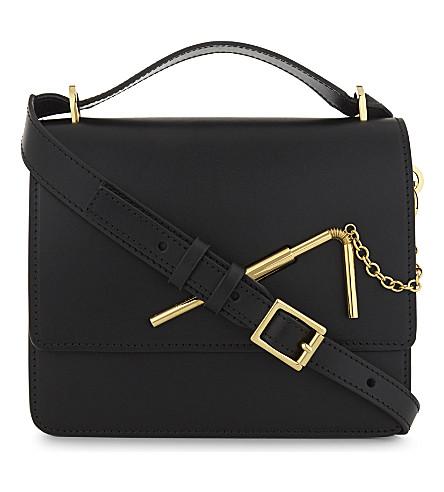 SOPHIE HULME Straw leather shoulder bag (Black