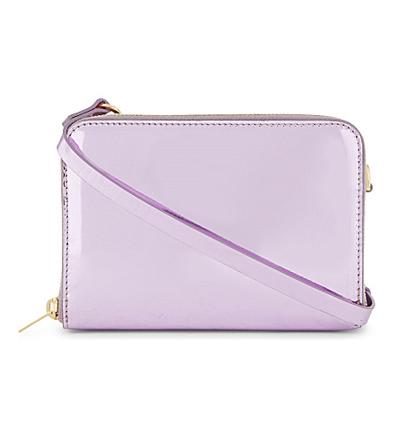 SOPHIE HULME Albert double zip cross-body bag (Metallic+pink