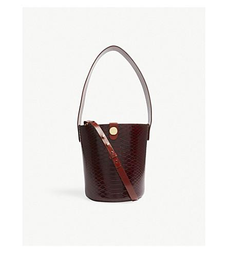 SOPHIE HULME Swing python-embossed leather saddle bag (Bordeaux+brown