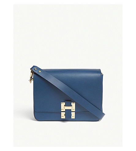 SOPHIE HULME The Quick large leather cross-body bag (Dark+canard