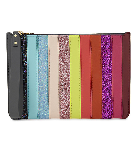 SOPHIE HULME Rainbow glitter leather pouch (Rainbow glitter