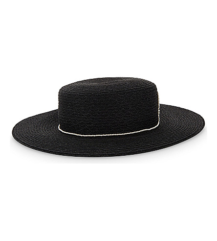 EUGENIA KIM Colette boater hat (Black