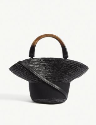 Evie small straw shoulder bag