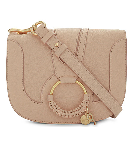 SEE BY CHLOE Hoop leather saddle bag (Powder