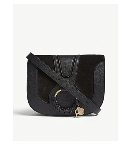 SEE BY CHLOE Hoop leather saddle bag (Black