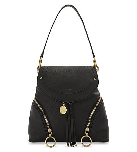 SEE BY CHLOE Hoop leather backpack (Black