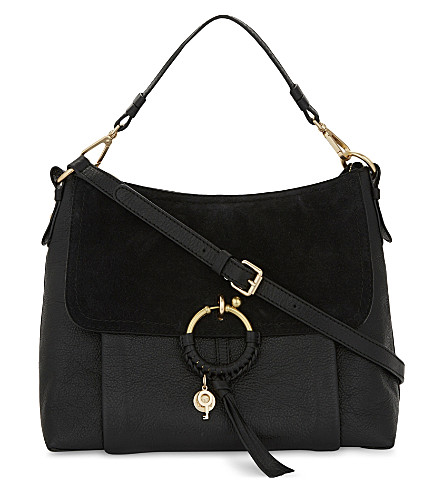 SEE BY CHLOE Hoop leather & suede shoulder bag (Black