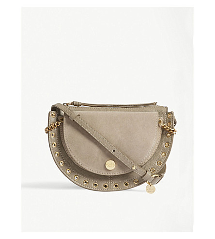 SEE BY CHLOE Crescent leather and suede saddle bag (Motty+grey