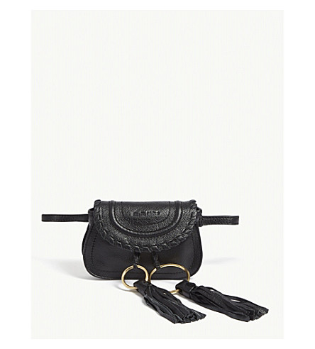 SEE BY CHLOE Mini Andy grained leather saddle bag (Nr001+black