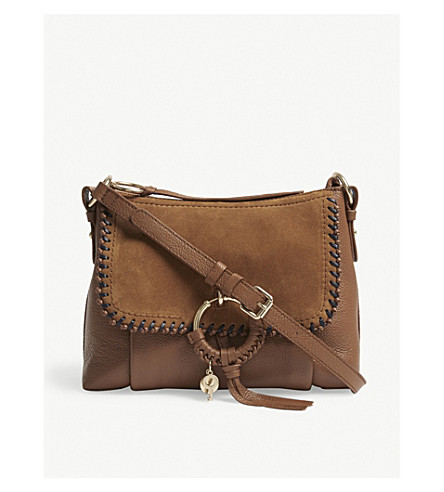 SEE BY CHLOE Suede and leather shoulder bag (Caramelo