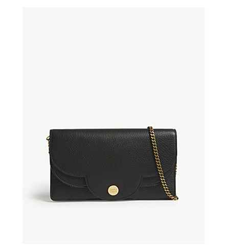 SEE BY CHLOE Grained leather wallet-on-chain (Nr001+black