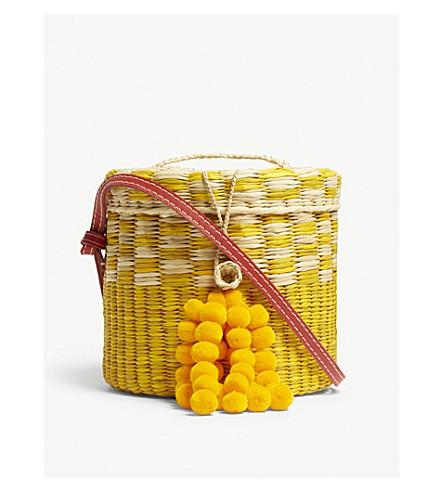 NANNACAY Ana straw cross-body bucket bag