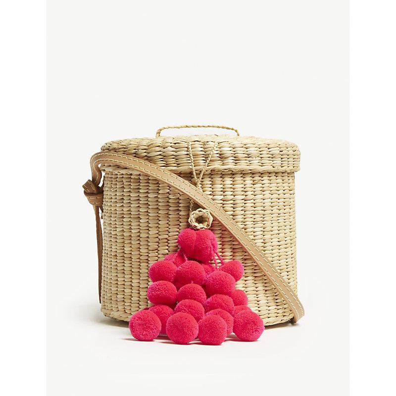 NANNACAY Ana Blossom straw cross-body bucket bag