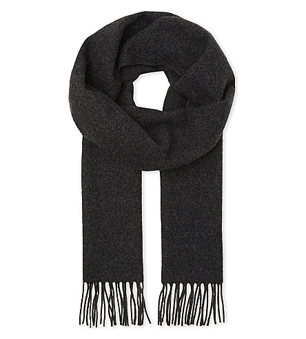 VIVIENNE WESTWOOD Embroidered logo wool scarf (Anthracite