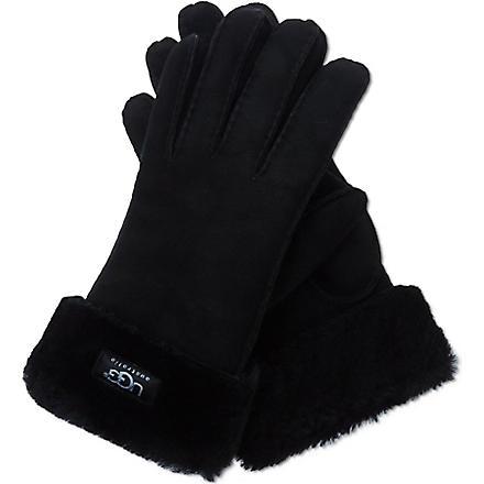 UGG Turn-over cuff sheepskin gloves (Black