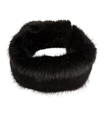 HELEN MOORE Faux-fur headband (Black