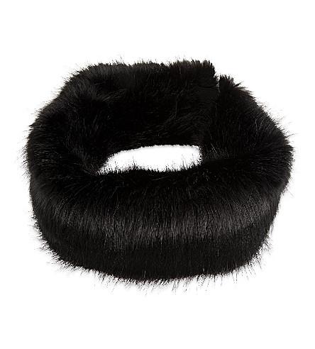 HELEN MOORE Faux-fur headband (Black