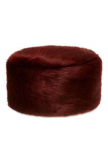 HELEN MOORE Faux-fur pillbox hat