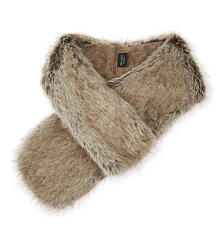 HELEN MOORE Faux-fur loop scarf (Truffle
