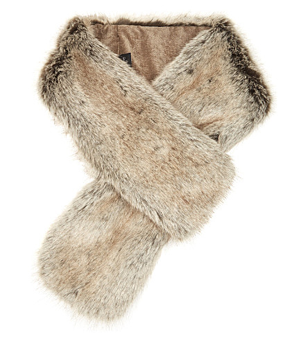 HELEN MOORE Loop faux-fur scarf (Truffle