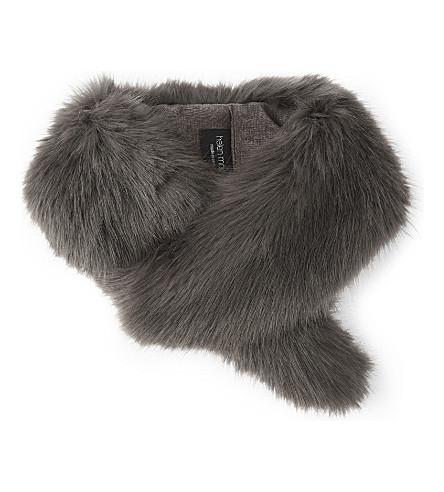 HELEN MOORE Vintage faux-fur collar (Steel