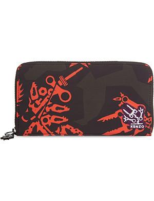 KENZO Printed nylon zip around purse
